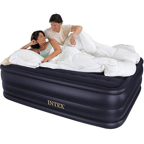"""Intex Queen 22"""" Rising Comfort Airbed Mattress With Built-In Electric Pump"""
