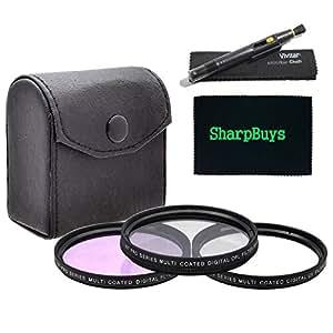 55mm Multi-Coated 3 Piece Digital Filter Kit (UV-CPL-FLD) + Lens Cleaning Pen & SharpBuys Microfiber Cloth For The Sony Alpha DSLR-A350 Digital SLR Camera Which Have Any Of These (18-70mm, 18-55mm, 75-300mm, 55-200mm, 35mm f/1.8, 85mm f/2.8, 50mm, 100mm) Sony Lenses