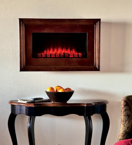 Wood Framed Electric Wall-Mount Fireplace, in Walnut-Finish photo B007JXW05Y.jpg