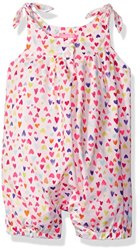 The Children's Place Girls' Multi-Heart Romper, Simply White, 12-18 Months