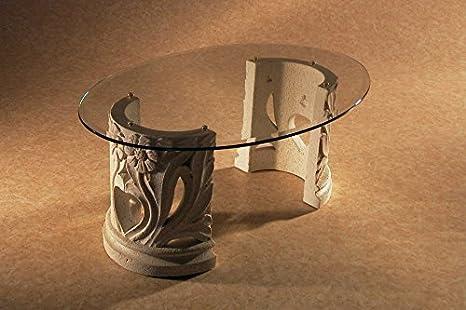 Mesa de centro con básica de mármol de vidrio de la sala de estar Modelo. Amos - tamaño: oval cm 100 x 65 - altura cm 43 - Acabado: efecto de piedra