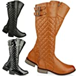 WOMENS LADIES FLAT KNEE HIGH QUILTED...