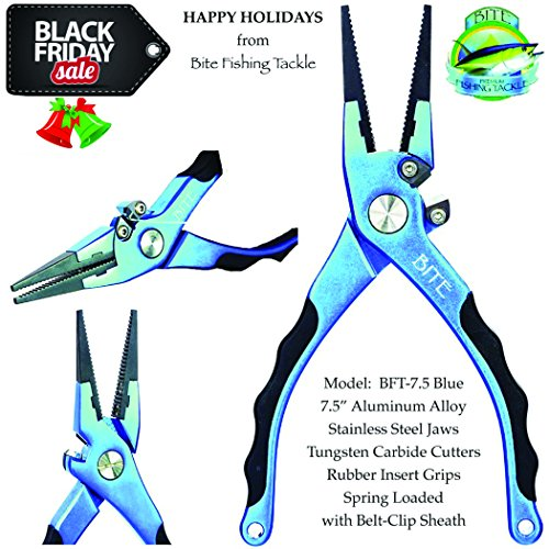 CYBER-MONDAY-BITE-Professional-Aluminum-Saltwater-Fishing-Pliers-Spring-Loaded-Rubber-Insert-Grips-Tungsten-Carbide-Cutters-WITH-REPLACEMENT-CARBIDE-CUTTERS-PREMIUM-CLIP-SHEATH