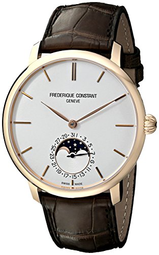 Frederique Constant Men'S Fc705V4S9 Slim Line Analog Display Swiss Automatic Brown Watch