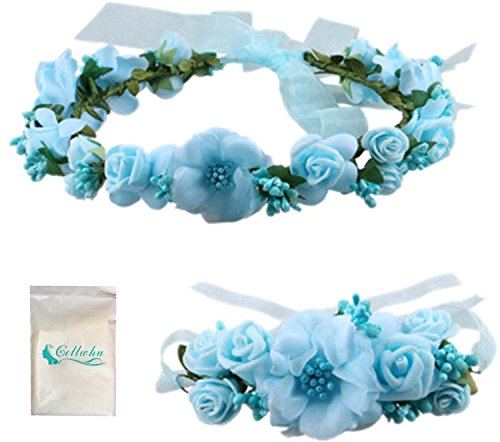 Gellwhu Flower Crown Wedding Hair Wreath Floral Headband Garland Wrist Band Set (Light Blue)