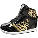 Pastry Girls - Glam Pie Wedge Cheetah Black Gold High Top Sneakers