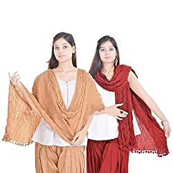 Kalrav Solid Beige and Maroon Cotton Dupatta Combo