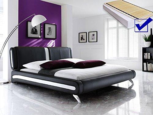 Polsterbett schwarz komplett Bett 140×200 + Lattenrost + Matratzen Singlebett Designerbett Malin jetzt kaufen