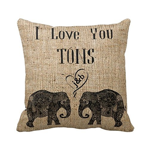 I Love You Tons Custom Names Initial Letters Pillow Cover Elephant Pillowcase Romantic Anniversary Cushion Covers Valentine's Day Gift Twin Sides 16 X 16 (Custom Name Pillowcase compare prices)