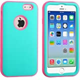 myLife Electric Cyan Blue and Pink {3 Piece Slim Design} Neo Hybrid Armor Case for the NEW iPhone 6 (6G) 6th Generation... by myLife Brand Products