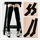 Lady Girl Cute Over Knee Winter Socks Thigh High Warm Cotton Long Stockings Black