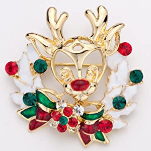 Pugster Christmas Golden Reindeer Green Red Crystal Ribbon Brooches And Pins