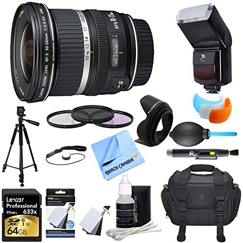 Canon (9518A002) EF-S 10-22mm F/3.5-4.5 USM Lens w/ Ultimate Accessory Bundle includes Lens, 64GB SDXC Memory Card, Flash, Flash Cover, Tripod, 77mm Filter Kit, Lens Hood, Bag, Cleaning Kit, & More (Canon 77mm Lens Hood compare prices)