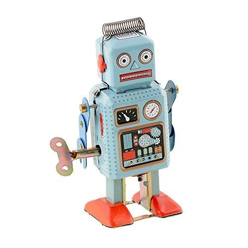 Soledi Funny Dark & Green Clockwork Spring Wind Up Metal Walking Robot Retro Vintage Mechanical Kids Children Toy Gift - 1