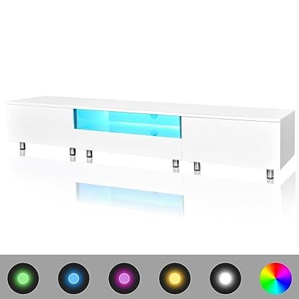 Meuble TV rectangulaire blanc sur pieds avec luminaires