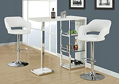 "GLOSSY WHITE / CHROME METAL 48""L BAR TABLE (SIZE: 48L X 16W X 42H)"