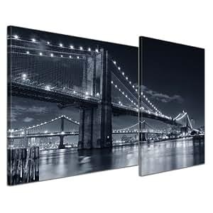 "Bilderdepot24 Leinwandbild ""New York Bridge III"" - 110x60 cm 2 teilig - fertig gerahmt, direkt vom Hersteller"