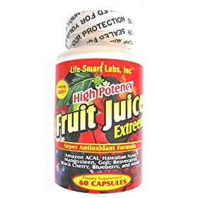 Fruit Juice Extreem TM HIGH POTENCY 60 Capsules Amazon ACAI Berry, Blueberry, Goji Berry, Mangosteen, Hawaiin Noni, Black Cherry, Resveratrol, and more