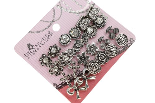 Antique Silver Tone Crystal Vintage Fashion Jewelry Stud Earrings, Pack of 12 (C)
