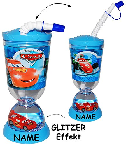 trinkbecher trinkflasche glitzerbecher disney cars auto lightning mcqueen incl. Black Bedroom Furniture Sets. Home Design Ideas