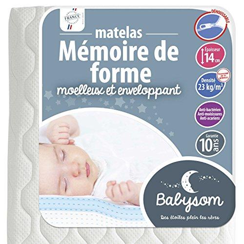 Babysom - Matelas Mémoire de forme - Epaisseur 14cm, Déhoussable