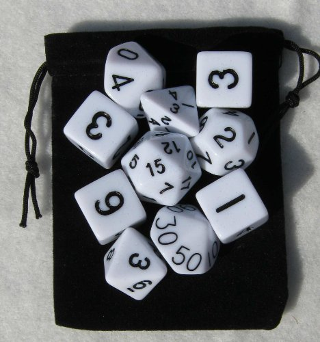 White RPG D&D Dice Set: 7 + 3d6 = 10 polyhedral die plus bag!