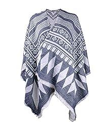 ZLYC Women Soft Geometric Aztec Blanket Shawl Wrap Scarf Poncho with Fringe Trims, Blue