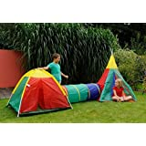 3 in 1 Childrens Adventure Play Dome Tent Tunnel Wigwam Outdoor Garden Game Toy