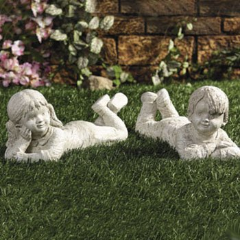 Boy and Girl Lying Down GARDEN STATUE sculpture set 2