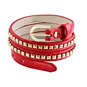 Pugster Square Gold Metal On Genuine Garnet Red Leather Style Adjustable Twining Bracelet
