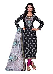SayShopp Fashion Women's Unstitched Regular Wear Cotton Printed Salwar Suit Dress Material (ZDM-24_Black_Free Size)