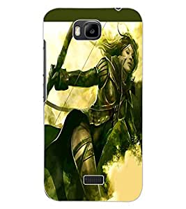 ColourCraft The Warrior Girl Design Back Case Cover for HUAWEI HONOR BEE
