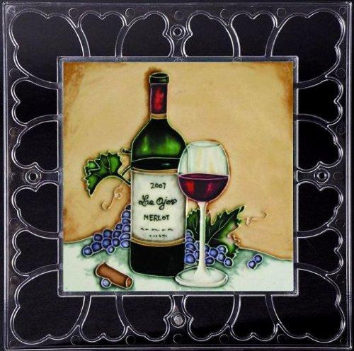 "Las Ojas Red Wine Bottle & Glass - Decorative Ceramic Art Tile On Acrylic Frame - 12"" X12"" front-608057"