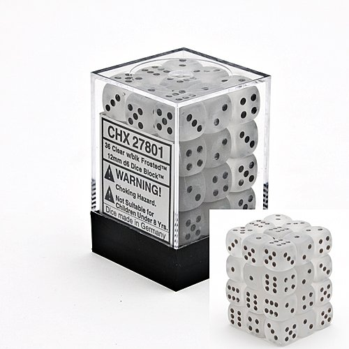 Chessex Dice d6 Sets: Frosted Clear with Black - 12mm Six Sided Die (36) Block of Dice
