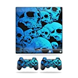 MightySkins Skin Compatible with Sony Playstation 3 PS3 Slim Skins + 2 Controller Skins Sticker Blue Skulls (Color: Blue Skulls, Tamaño: Sony Playstation 3 Slim Console)