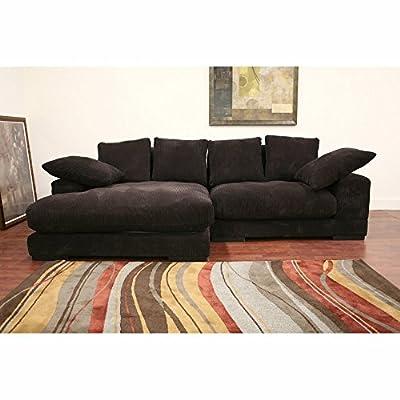 Baxton Studio Dark Brown Microfiber Sectional Sofa
