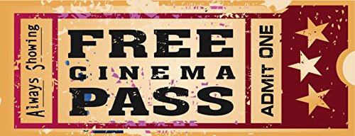 Home Cinema Metal Sign, Ticket to the Movie, Media Room, Family Room, Bar, Den Decor by OMSC (Wall Ticket compare prices)