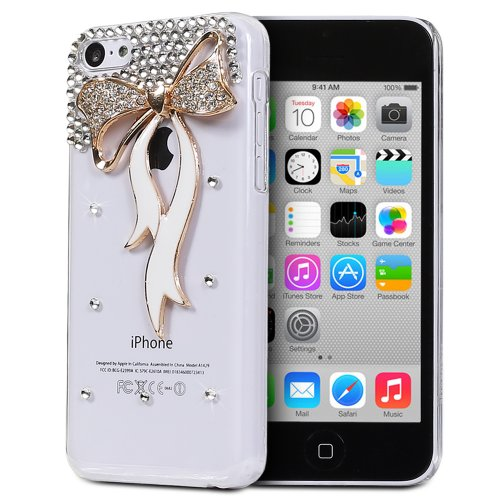 Fosmon GEM Series 3D Bling Design Case for Apple iPhone 5C (Clear Case / Gold and White Ribbon) (5c Phone Case Gems compare prices)