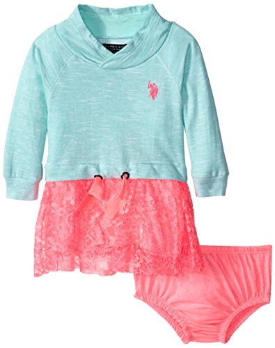 U.S. Polo Assn. Baby-Girls Newborn French Terry Mock Neck and Neon Lace Dress, Mint, 12 Months