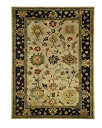 Area Rug, Ivory/Eggplant Traditional Bordered Soft Wool Carpet, 5-Foot X 8-Foot