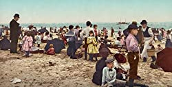 On the Coney Island Beach, 1902 - Exceptional 16x20-inch Print of a Vintage Photochrom Image from the Library of Congress Collection On the Coney Island Beach, 1902 - 16x20-inch Print of a Vintage Photochrom Image from the Library of Congress Collection