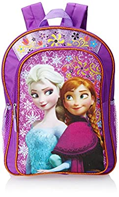 Disney Frozen Anna & Elsa Girl's Backpack Purple with Amber Trim by Fast Forward Girls 2-6x
