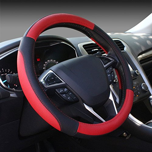 SEG Direct Black and Red Microfiber Leather Auto Car Steering Wheel Cover Universal 15 inch (Leather Red Steering Wheel Cover compare prices)
