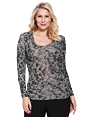 Plus Fuller Figure Heatgen™ Lace Print Thermal Top