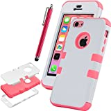 iPhone 5C Case, iPhone 5C Cover, iPhone 5C Cases, ULAK(?) Colorful Heavy Duty Hybrid Rugged Hard Case Cover For Apple iPhone 5C with Screen Protector and Stylus (White + Water Red)