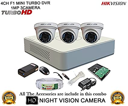 Hikvision-DS-7104HGHI-F1-Mini-4CH-Dvr,-3(DS-2CE56COT-IR)-Dome-Camera-(with-Mouse,-1TB-HDD,-Bnc&Dc-Connectors,Power-Supply,Cable)