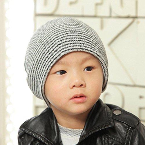FEITONG Baby Beanie Boy's Soft Hat Children Winter Warm Kids Knitted Cap (Black)