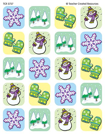 20 Pack TEACHER CREATED RESOURCES WINTER SEASON STICKERS 120 STKS