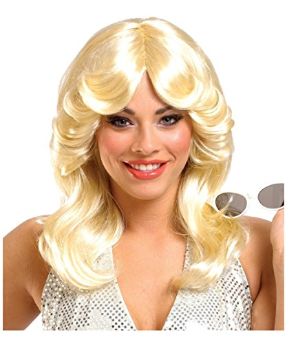 Disco 70s Glamour Blonde Adult Womens Curly Halloween Costume Wig