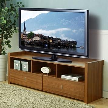 Vinnie Walnut Finish Storage Entertainment Console TV Stand